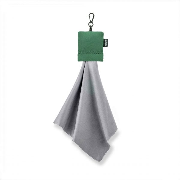 Large green pouch with microfiber cleaning cloth