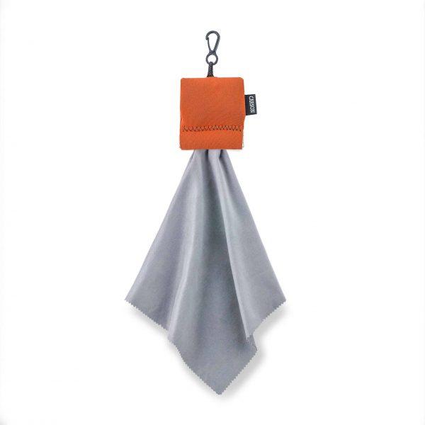 Grande pochette orange avec chiffon de nettoyage en microfibre