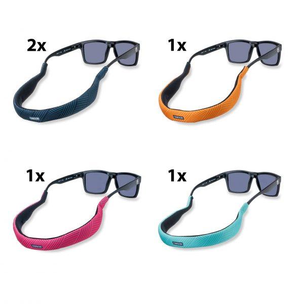 Sortierte Packung mit schwimmenden Brillenbändern