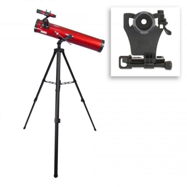 Telescopio newtoniano de 35 a 78 veces con adaptador de smartphone