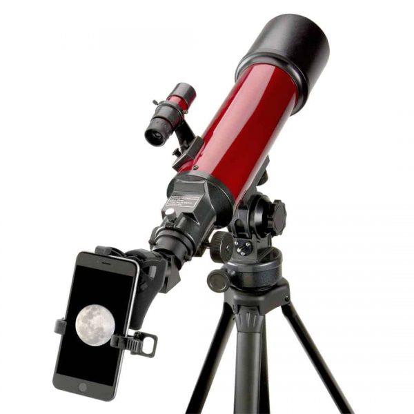 Telescopio refractor de 25 a 56 veces con adaptador de teléfono inteligente