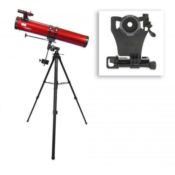 Newton'sches Spiegelteleskop mit 45- bis 100-facher Vergrößerung und Smartphone-Adapter
