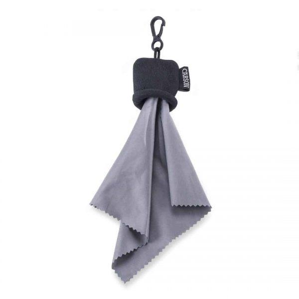 Bolsa negra con paño de limpieza de microfibra