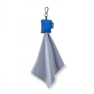 Blue pouch with microfiber cleaning cloth
