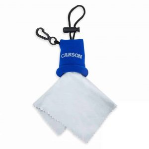Compact blue pouch with microfiber cleaning cloth