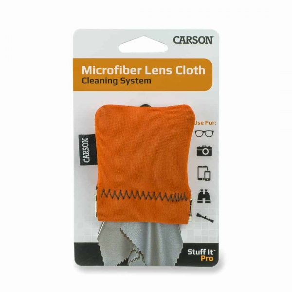 Large orange pouch with microfiber cleaning cloth